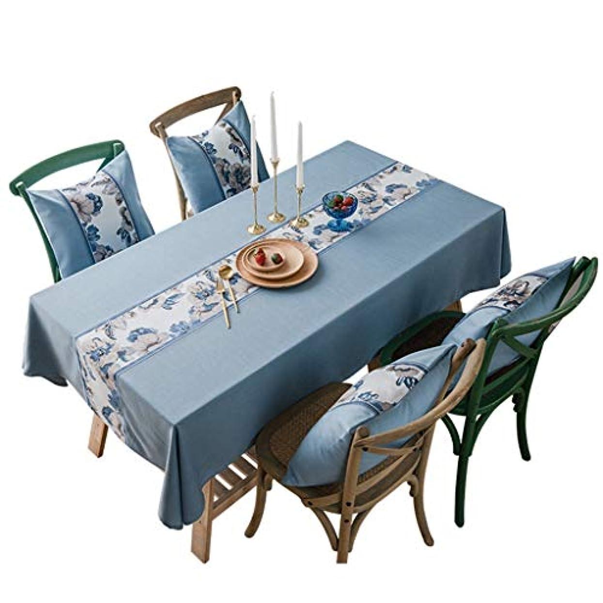 不利益絡み合い怠な布製テーブルクロス 長方形のテーブルクロス、北欧防水刺繍入りブルー、綿と麻、防汚、お手入れが簡単、丈夫、ロマンチックでエレガント、暖かい家 ホリデーギフト (Size : 135*180 cm)