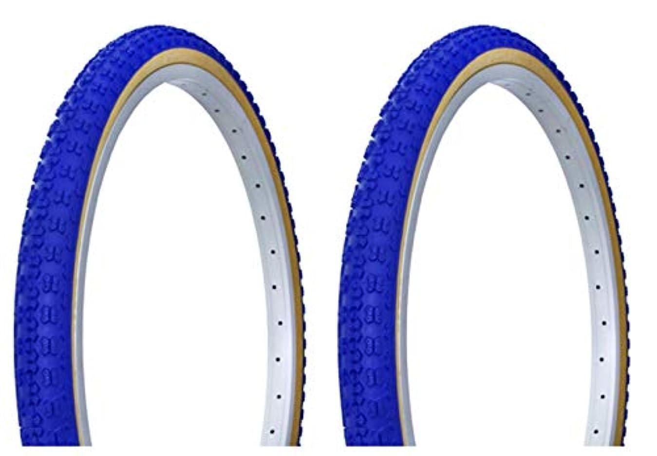 居心地の良い急流にやにやLowrider タイヤセット 2タイヤ 2タイヤ デュロ 24インチ x 1.75インチ ブルー/ガム サイドウォール HF-143G