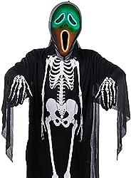 ハロウィン 仮装 大人 光るマスク 骸骨 コスプレ コスチューム ゴースト お化け 肝試し 演出 衣装 イベント パーティー 3点セット