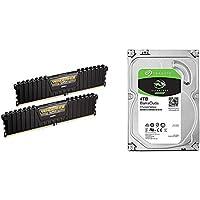 "CORSAIR DDR4 メモリモジュール VENGEANCE LPX Series 8GB×2枚キット CMK16GX4M2B3000C15 & Seagate BarraCuda 3.5"" 4TB 内蔵ハードディスク HDD 2年保証 6Gb/s 256MB 5400rpm 正規代理店品 ST4000DM004"