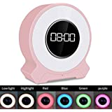 Bluetooth Speakers,Wireless Bluetooth Portable LED Night Light,Dimming LED Smart Touch Ambient Light,Timing Clock Mode,Pink