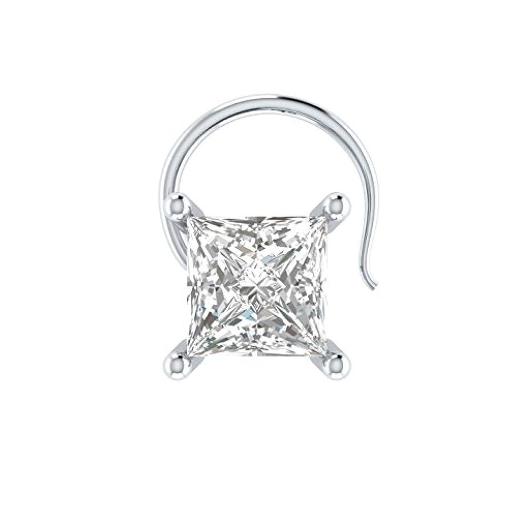 期間ハグ電圧silvernshine Jewelsスターリングシルバー0.25カラットプリンセスカットダイヤモンドソリティア鼻ピアススタッドピンリング