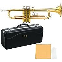MAXTONE 管楽器セット トランペット B♭管 ゴールドラッカー 仕上げ TT-104 ハードケース付