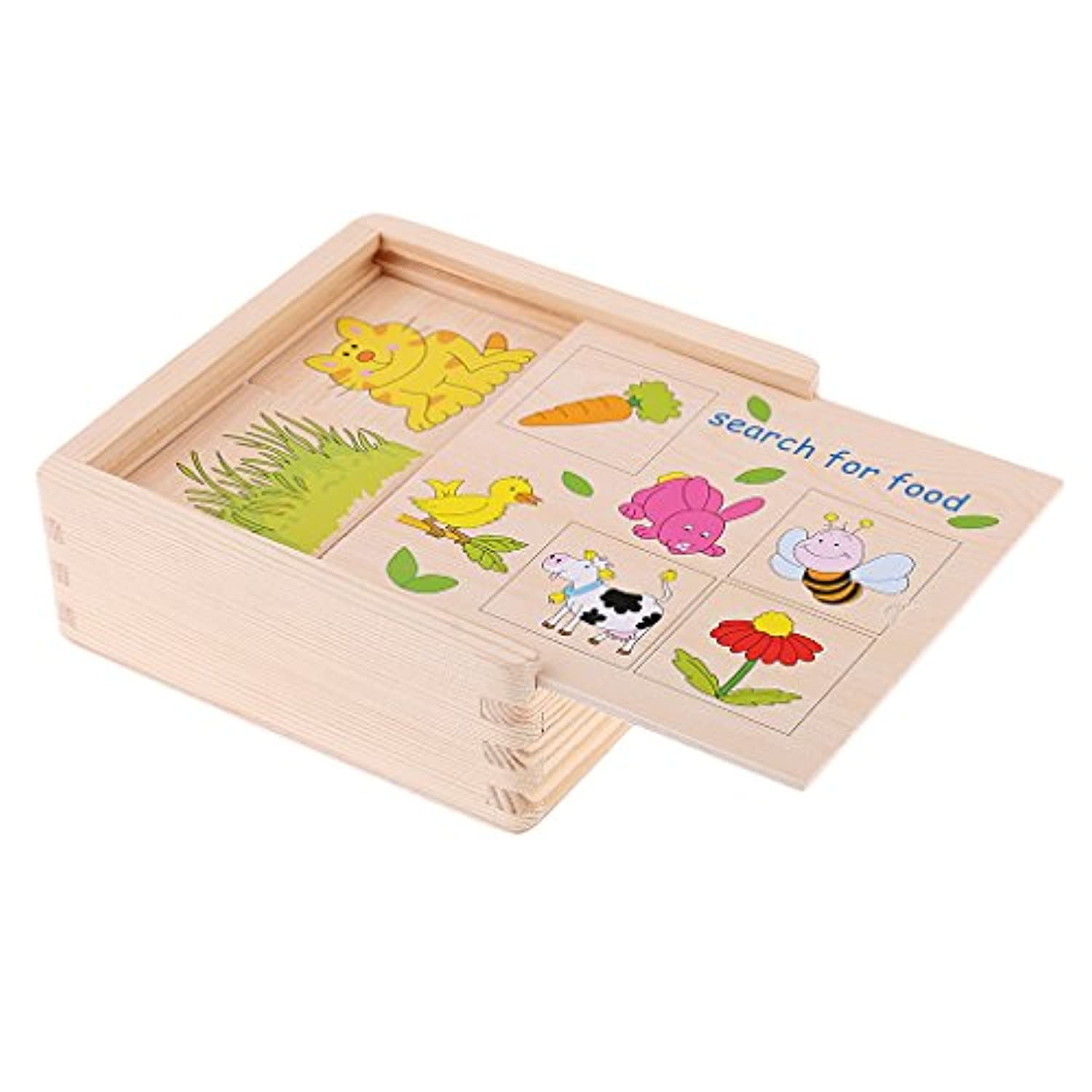 MagiDeal Wooden Animal FoodペアリングMatching Toys for Kidsホームファミリゲームセットギフト
