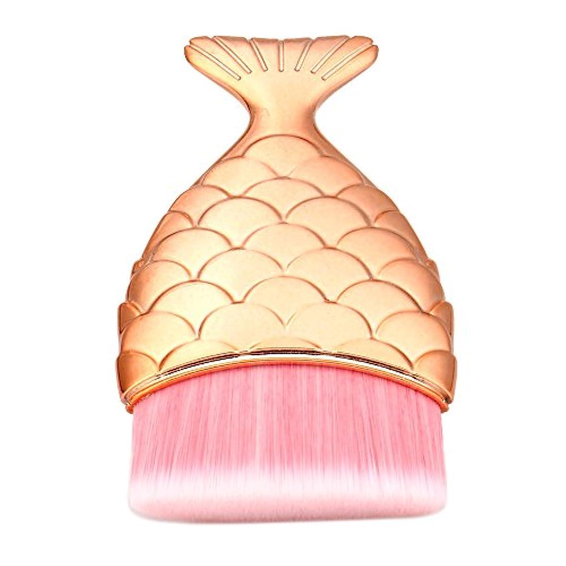 散逸磁気コンデンサー(プタス)Putars メイクブラシ ファンデーションブラシ マーメイド 4.9*1.5*8.5cm ローズゴールド 化粧ブラシ ふわふわ お肌に優しい 毛量たっぷり メイク道具 プレゼント