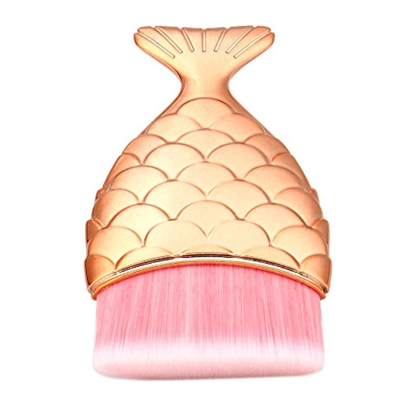 投票速記小さい(プタス)Putars メイクブラシ ファンデーションブラシ マーメイド 4.9*1.5*8.5cm ローズゴールド 化粧ブラシ ふわふわ お肌に優しい 毛量たっぷり メイク道具 プレゼント