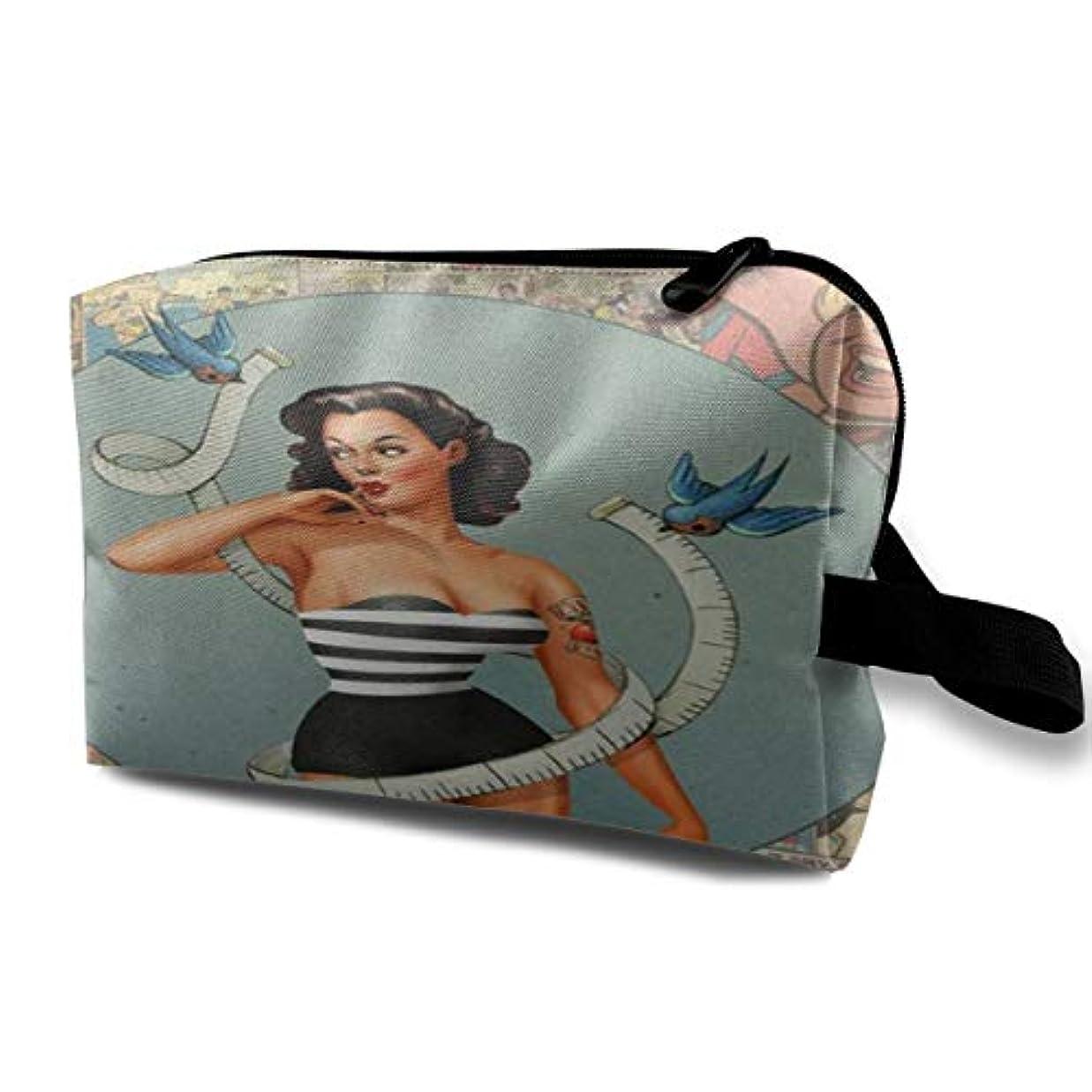 海藻矢一目Pin-Up Girl 収納ポーチ 化粧ポーチ 大容量 軽量 耐久性 ハンドル付持ち運び便利。入れ 自宅・出張・旅行・アウトドア撮影などに対応。メンズ レディース トラベルグッズ