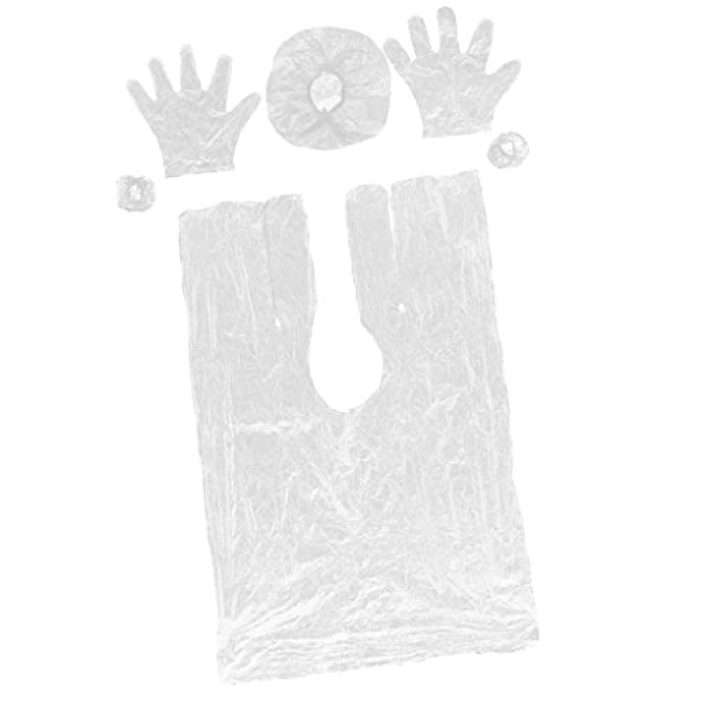 空洞ミニ借りているKesoto 使い捨て ヘアケアサロン帽子 弾性キャップ サロンケープ  手袋 耳栓 プラスチック製 10セット入り
