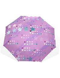 AOMOKI 折り畳み傘 折りたたみ傘 手開き 日傘 三つ折り 梅雨対策 晴雨兼用 UVカット 耐強風 8本骨 男女兼用 星柄 紫