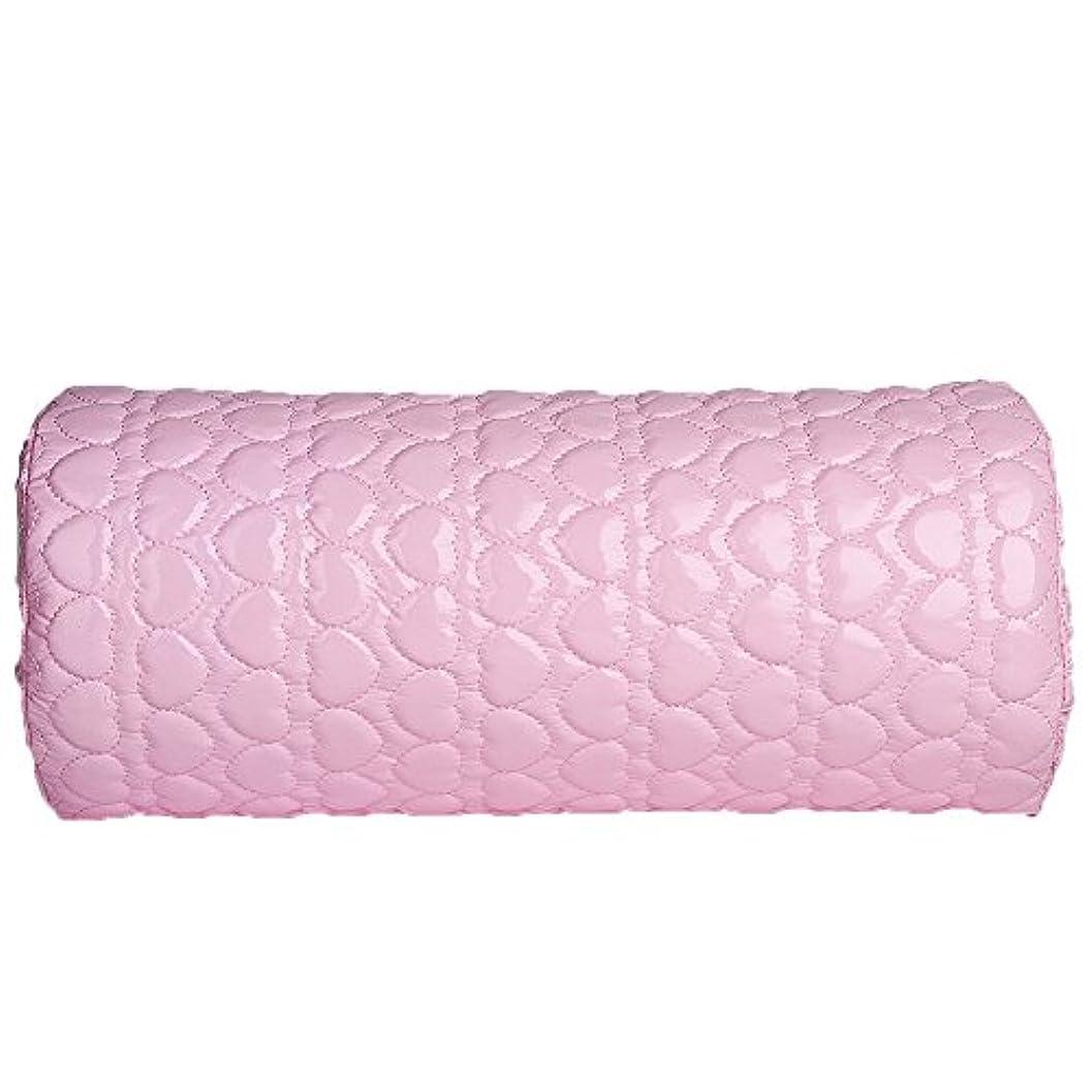 既婚行方不明生産的TerGOOSE ハンドレスト アームレスト ネイル用 ハンドピロー PUレザー 防水 耐汗性 愛の形 半円形 柔らかい ピンク