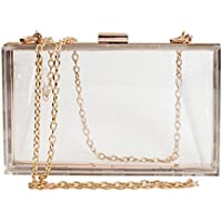 Cute Clear Purse Bag Acrylic Box Clutch for Women/Girls, Transparent Stadium Approved Crossbody Handbag for Sporting Events, School Prom, Fest & Concerts with Gold Chain Strap