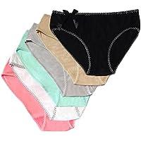 Women's Panties Cotton Brief Plus Size Lingerie Underwear Mid Waist Sexy Lingerie for Women 6 Pack