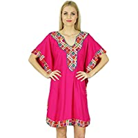 Bimba Women Short Rayon Kaftan Kimono Sleeve Caftan Boho Dress Coverup