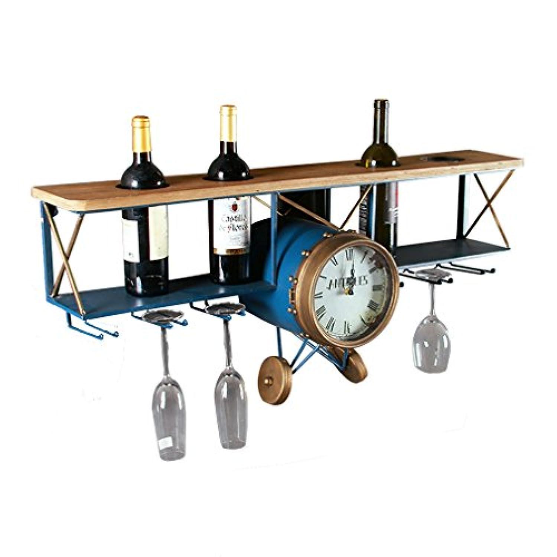 工業用風ワインラック壁取り付け型航空機モデル鉄レトロワインボトルホルダー4本を保持バーホームデコレーション用クリエイティブワインボトルホルダー(サイズ:96 * 26.5 * 42.5cm)