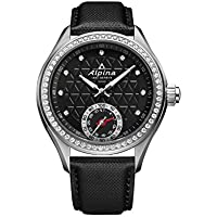 Alpina Women's 'HOROLOGICAL SMART' Quartz Stainless Steel and Rubber Casual Watch, Color:Black (Model: AL-285BTD3C6)