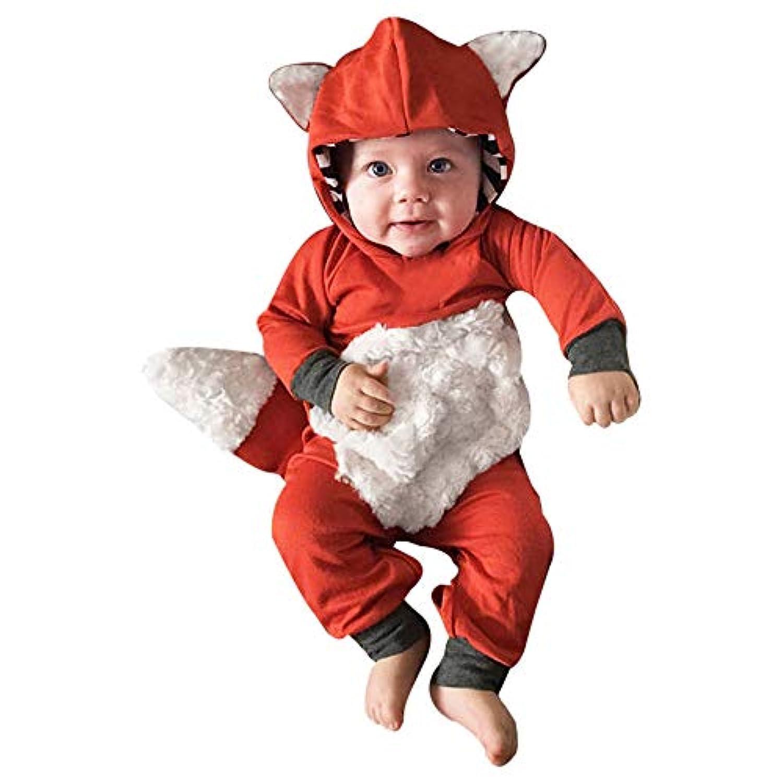 GODTOON ロンパース ベビー 子供 秋 冬 長袖 衣装セット狐 赤ちゃん テール付け かわいい 暖かい クリスマス ハロウイン 誕生日 赤ちゃん 出産祝い ギフト内祝い プレゼント贈り物 (80, オレンジ)