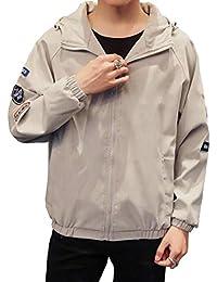 Fly Year-JP メンズカジュアルプレードロングスリーブ薄い軽量アウトコートボンバージャケットコート