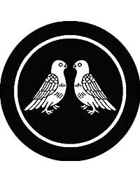 家紋シール 糸輪に向かい鳩紋 布タイプ 直径40mm 6枚セット NS4-1748