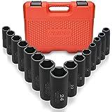 Neiko 02474A 1/2 Drive Deep Impact Socket Set Cr-V Steel 6-Point | 15-Piece Set | Metric 10-24mm