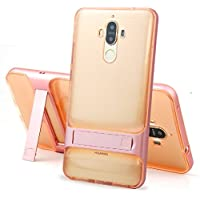 Huawei Mate8 Shell, Special Foldable Movie Stand Plating Hard Bumper Frame+Soft Transparent Clear Thin Armor Cover, TAITOU New Ultralight Slim Armour Case For Huawei Mate 8 RoseGold