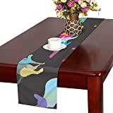 GGSXD テーブルランナー 優雅な猫 クロス 食卓カバー 麻綿製 欧米 おしゃれ 16 Inch X 72 Inch (40cm X 182cm) キッチン ダイニング ホーム デコレーション モダン リビング 洗える