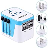 Universal Travel Adapter, World Wide Travel Plug Adapter Charger International Power Adapter with 2.4A 4-Port USB Wall Charger for USA EU UK AUS Cell Phone Laptop
