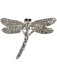 Blesiya ファッション 素敵 トンボ 輝き 銀 合金 クリスタル ブローチピン おしゃれ 友人 ギフト