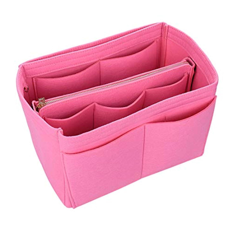 Jiyaru バッグ バッグインバッグ レディース 女性 おしゃれ フェルト インナーバッグ オーガナイザー 収納 化粧品バッグ 化粧ホルダー ホルダー 収納袋 バッグ イン バッグ 鍵ひも付き 軽量 13ポケット