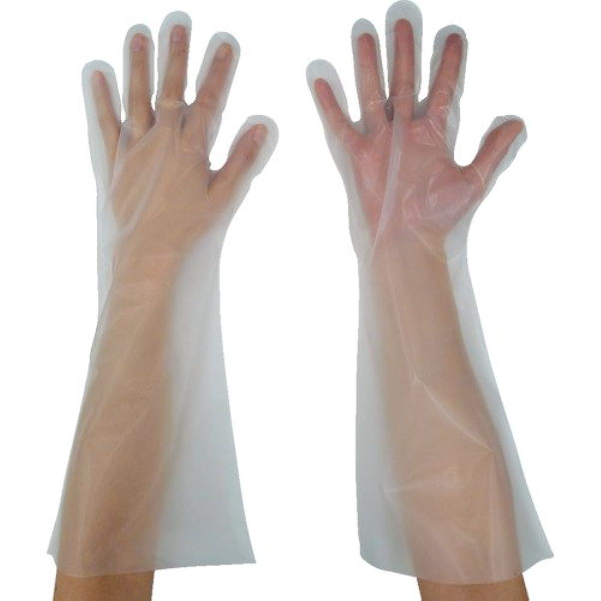 排泄物衣類プラスチック東京パック 緊急災害対策用手袋ロング五本絞りS 半透明 KL-S