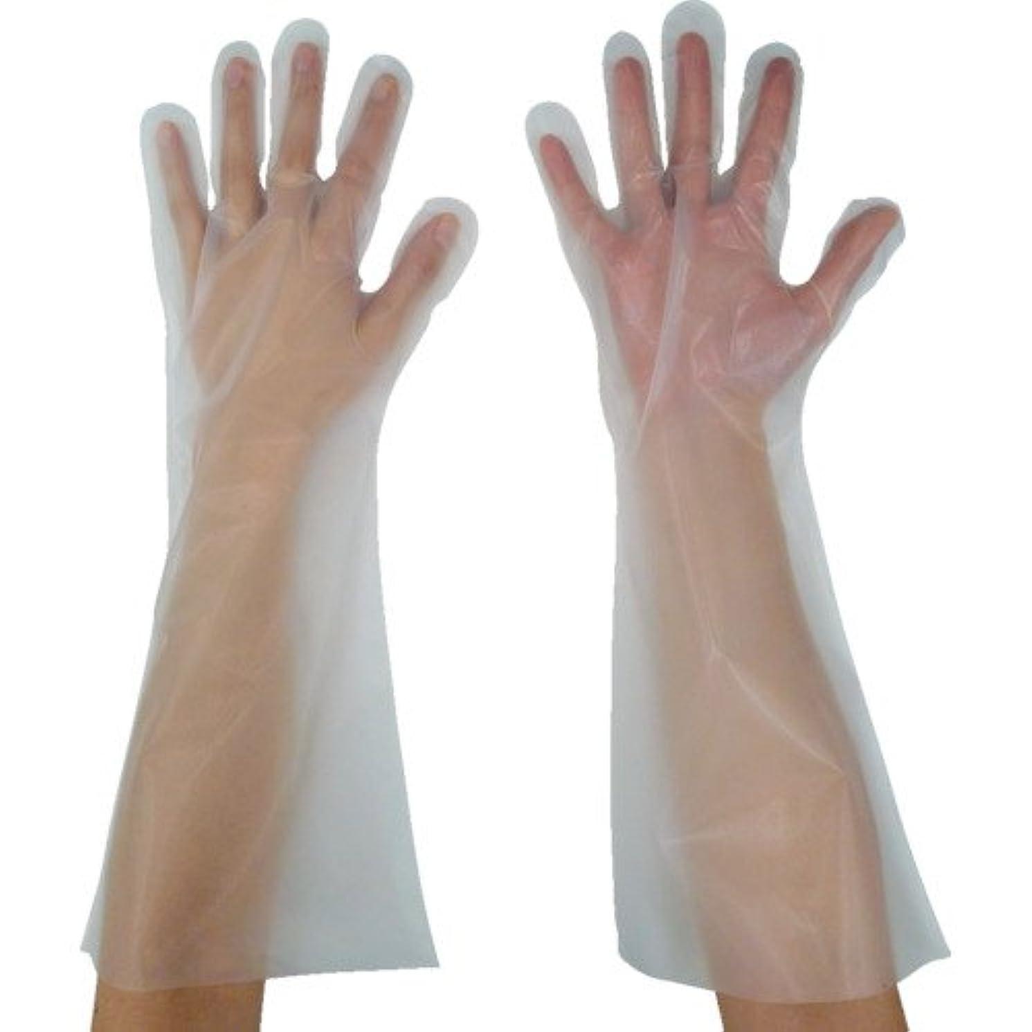乱す魔女たとえ東京パック 緊急災害対策用手袋ロング五本絞りL 半透明 KL-L