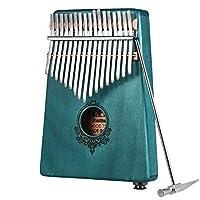 カリンバ 17キーKalimba マホガニー製ソリッドウッド-ナチュラルカラー アフリカ楽器 指オルゴール 指ピアノ (ブルー)