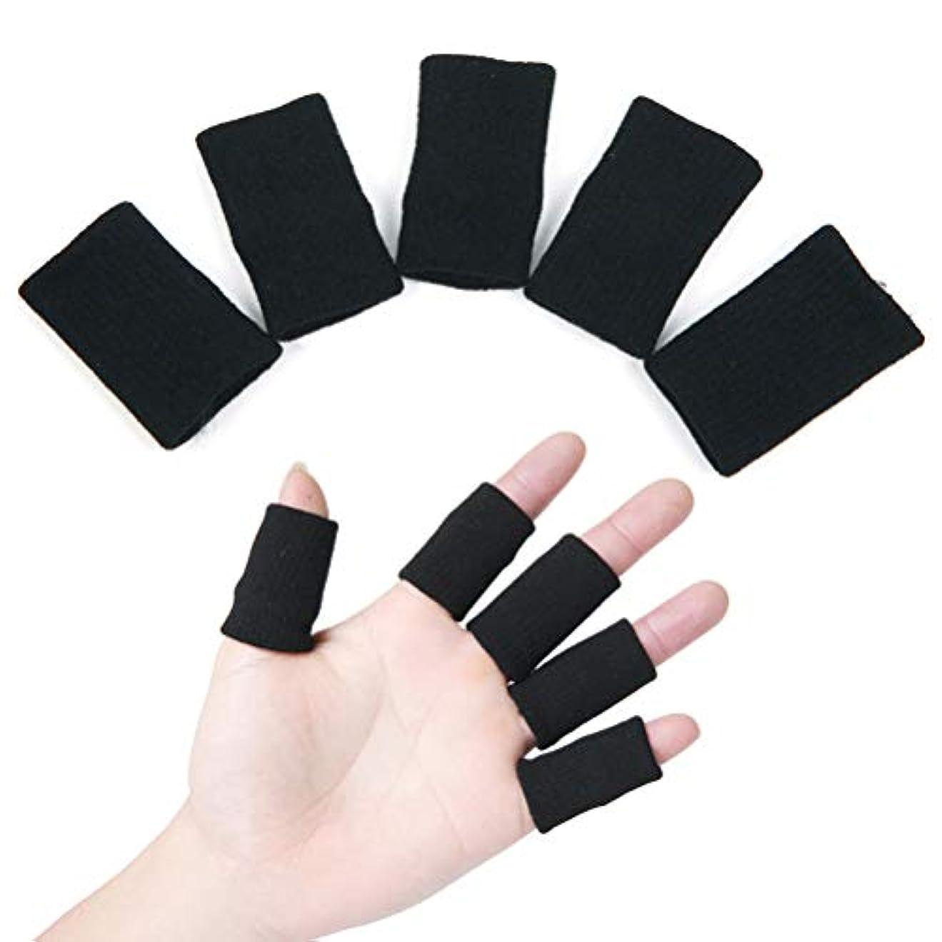 責任者ええ病SUPVOX つま先キャップ シリコーン 手指&足指保護キャップ 指サポーター 突き指?バネ指?腱鞘炎に スポーツバスケ用 怪我防止 保温 ナイロン製 10個入 ブラック