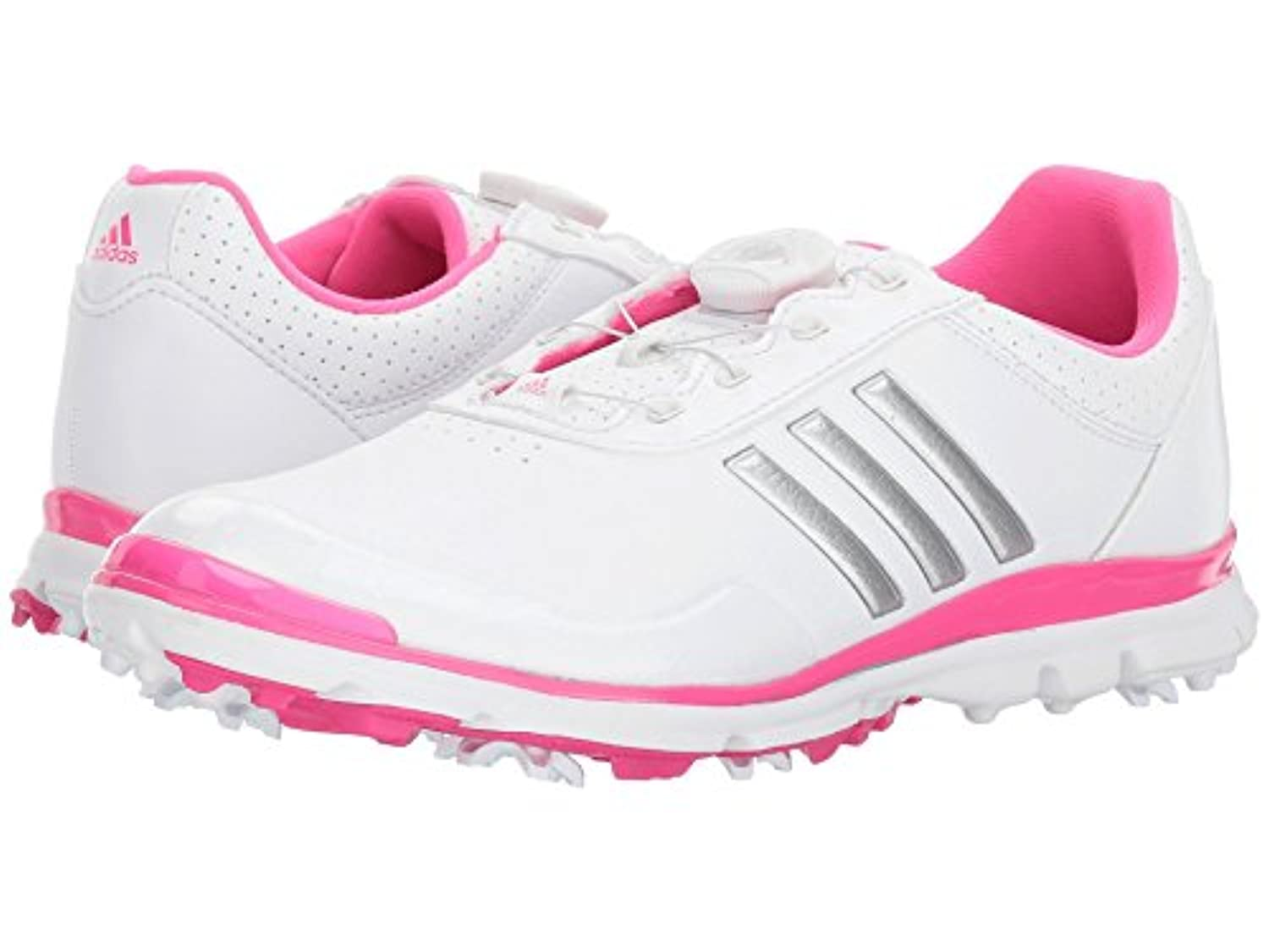 (アディダス) adidas レディースゴルフシューズ?靴 Adistar Lite Boa Footwear White/Silver Metallic/Shock Pink 8.5 (25.5cm) B - Medium