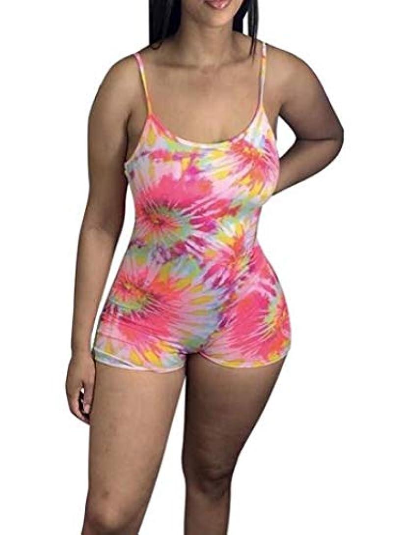 袋怖がって死ぬ期限切れHmarkt Women Bodycon Tie Dye Spaghetti Strap Sexy Print Short Jumpsuit Romper Pink US L