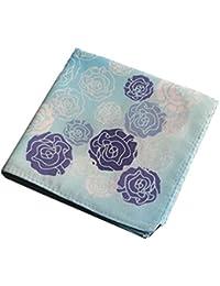 装飾パターン付き綿のハンカチ、ローズシリーズ、ブルー