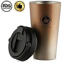 SEDETER 真空断熱 タンブラー 水筒 保温保冷 二重構造 コーヒーカップダブル 304ステンレス 携帯在宅アウトドア旅行オフィス 500ml (ゴールド)