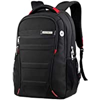 Aspensport Waterproof Laptop Backpack Business Backpacks Travel Rucksack Daypack with Tear Resistant Design Travel Bags Knapsack fits up to 14 Inch Laptop MacBook Computer Backpack (Black/Red)