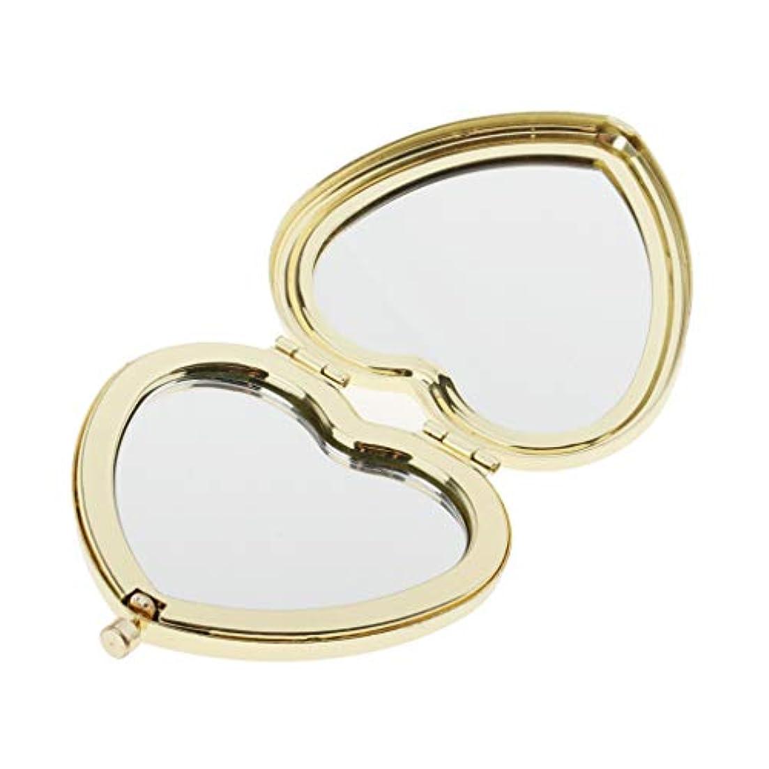 比喩精神的に火薬SM SunniMix 携帯ミラー コンパクミラー かわいい ハート型 ポケッミラー ハンドミラー 手鏡 化粧鏡 折り畳み式 全4色 - ゴールデン