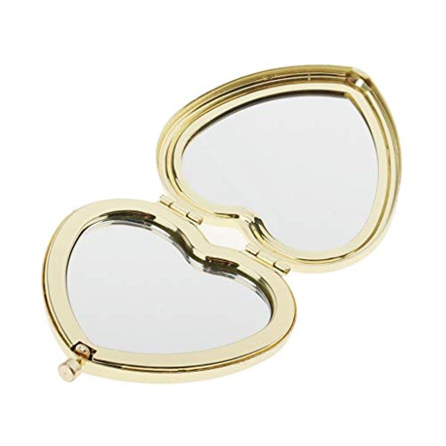 眼恩恵第五SM SunniMix 携帯ミラー コンパクミラー かわいい ハート型 ポケッミラー ハンドミラー 手鏡 化粧鏡 折り畳み式 全4色 - ゴールデン