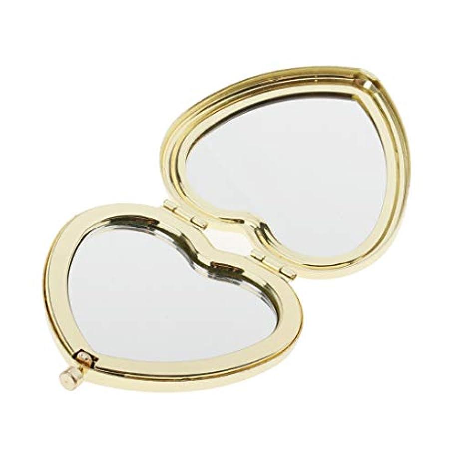 ぎこちないフリンジ元気SM SunniMix 携帯ミラー コンパクミラー かわいい ハート型 ポケッミラー ハンドミラー 手鏡 化粧鏡 折り畳み式 全4色 - ゴールデン