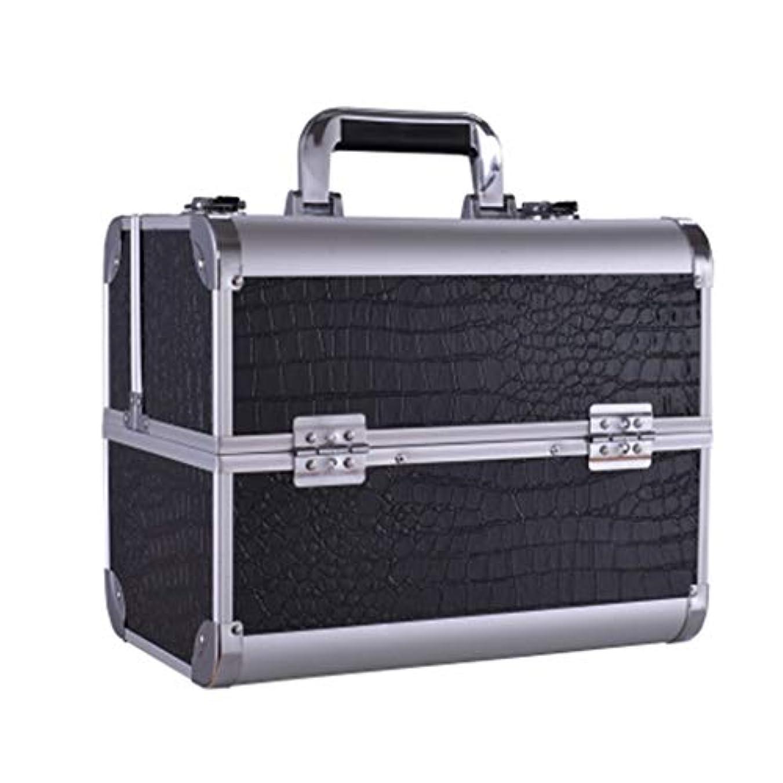 東方破壊余暇美容バッグ 大きい携帯用化粧箱の入れ墨の道具箱のきれいになること容易な専門の多層釘の収納箱/黒/ピンク HMMSP (Color : Black)