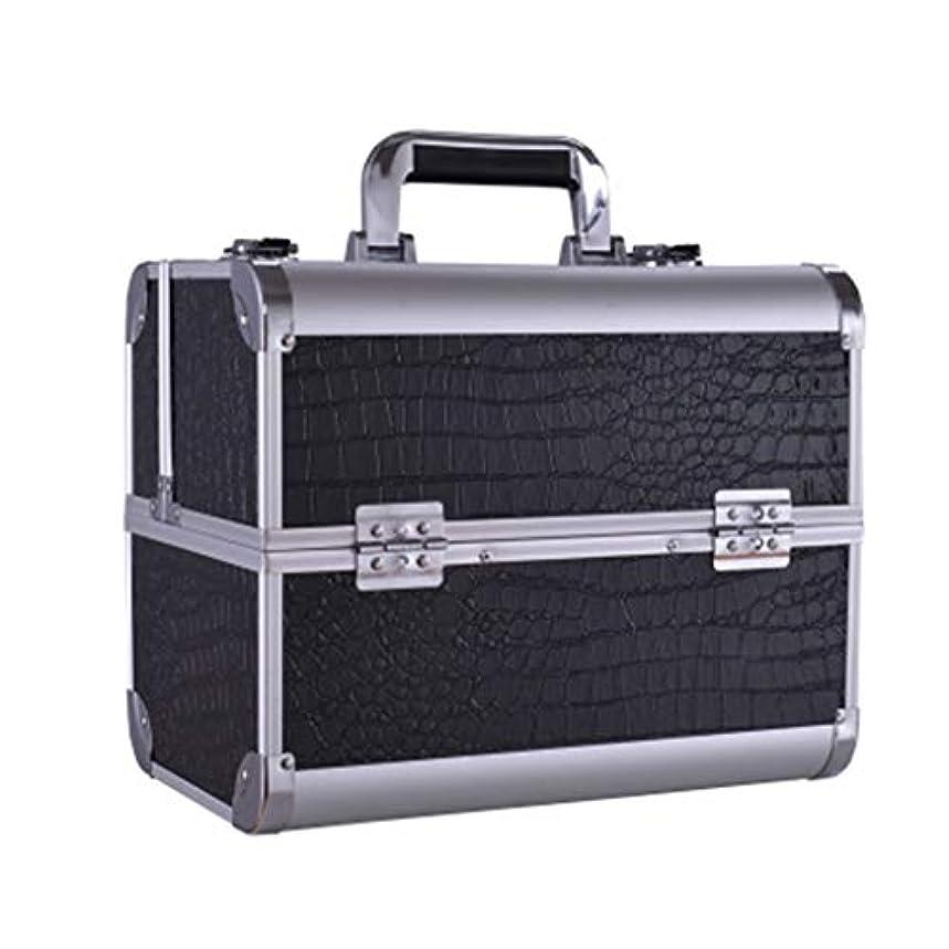 美徳裁判所アナウンサー美容バッグ 大きい携帯用化粧箱の入れ墨の道具箱のきれいになること容易な専門の多層釘の収納箱/黒/ピンク HMMSP (Color : Black)