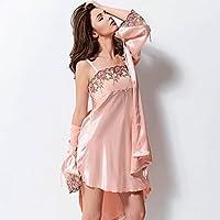 (Medium) - Bathrobe GAOLILI Spring Autumn Lady Nightdress Thin Section Ice Silk Stain Sleep Robe Silk Pure Colour (Size : M)