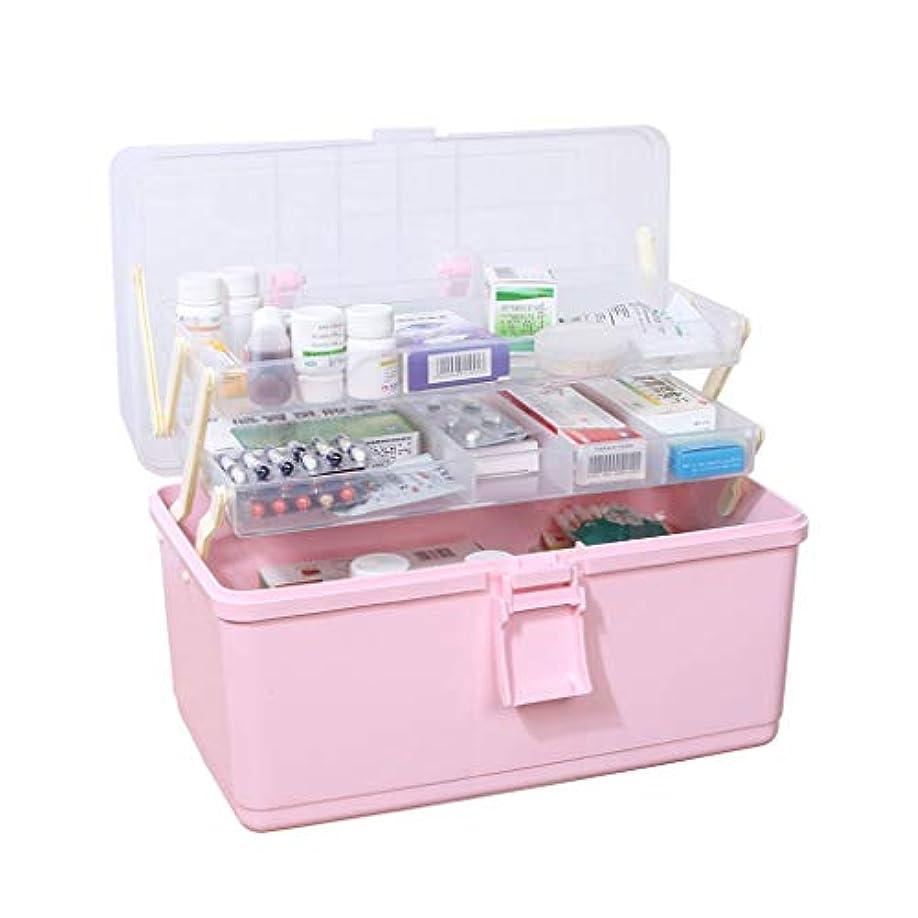 中級推定有害な医院のうちの特大容量の薬箱の家の多層医学の緊急時の薬の収納箱 HUXIUPING (Color : Pink)