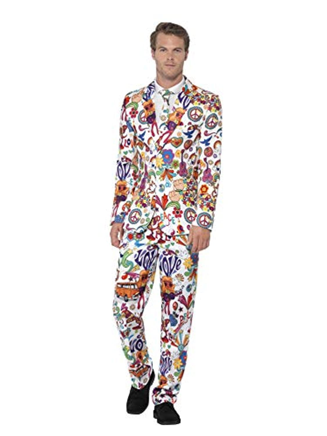 (L, Multi) - Smiffy's Men's Groovy Suit, Stand Out Suit, Jacket, Pants and Tie, Stand Out Suits, Serious Fun, Size L, 24592 (US)