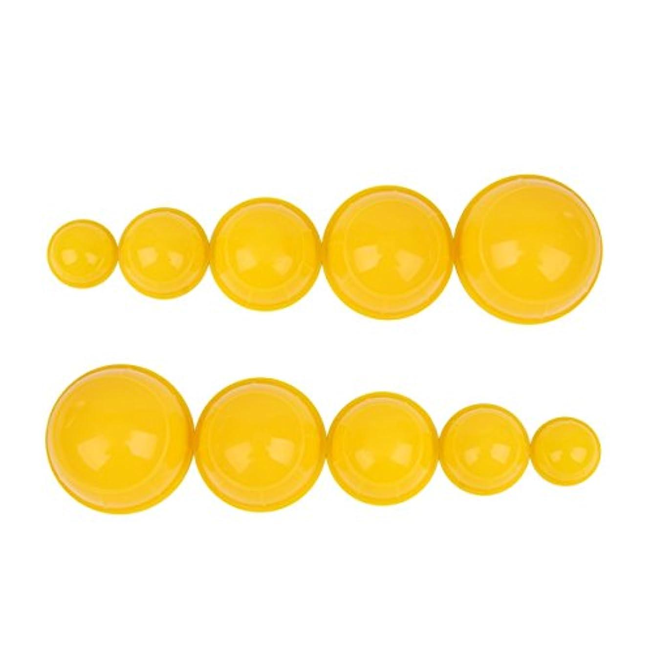 実質的期限効果的にシリコンカッピング 12個セット 吸い玉 水洗い可能 全身マッサージ CkeyiN (イエロー)