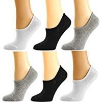 Womens Low Cut No Show Socks 6-Pack Non-Slip Multi-color Cotton Comfy Casual Invisible Socks for Women