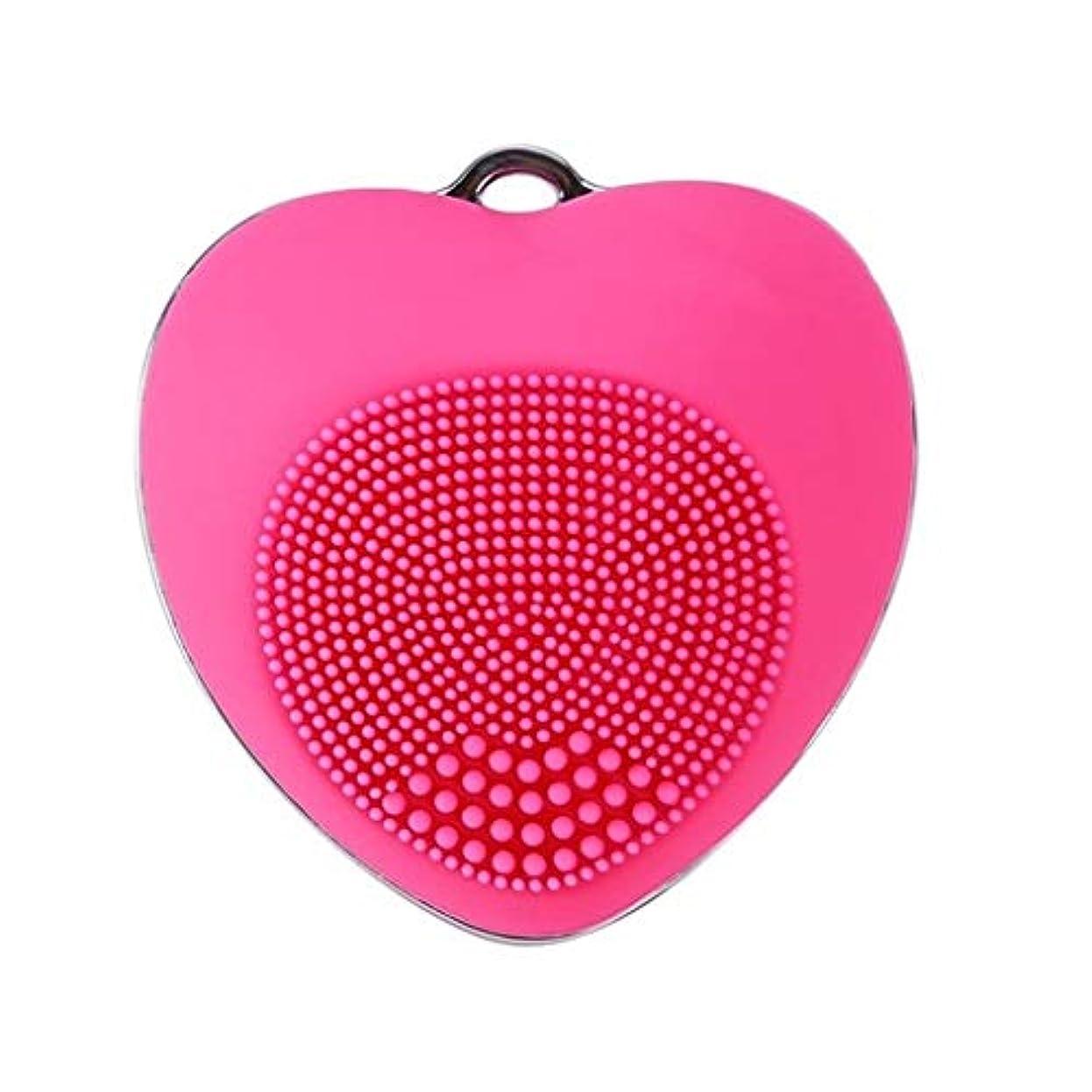 プラカード理論的慈悲電気クレンジング器具、超音波洗浄ポータブルフェイシャルマッサージャーきれいな毛穴深いクレンジング穏やかな角質除去黒ずみを除去 (Color : Rose Red)