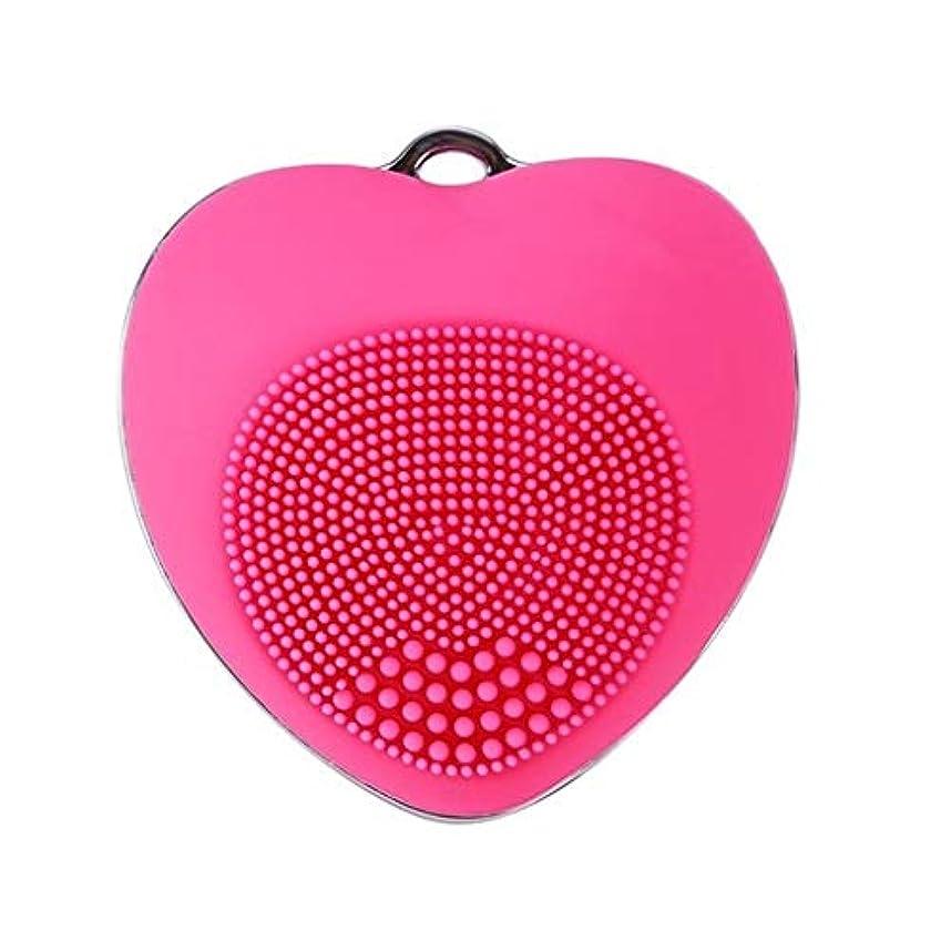 パレード苦しむロッド電気クレンジング器具、超音波洗浄ポータブルフェイシャルマッサージャーきれいな毛穴深いクレンジング穏やかな角質除去黒ずみを除去 (Color : Rose Red)