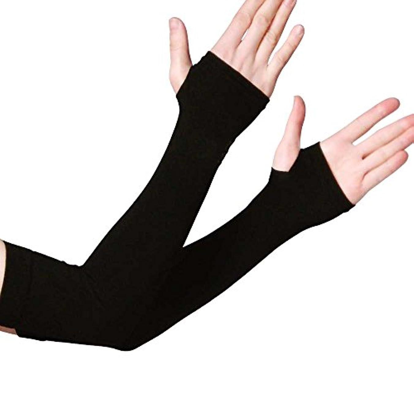 肩をすくめる支店発言する涼感UVカット アームカバー 紫外線対策 99%カット 日焼け止め 紫外線ダメージ お肌 ガード 定番ブラック 涼感タイプアームカバー (ブラック)